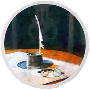 Lawyer - Quill And Spectacles Round Beach Towel