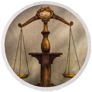 Lawyer - Scale - Fair And Just Round Beach Towel by Mike Savad