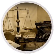 Lawyer - The Lawyer's Desk In Black And White Round Beach Towel