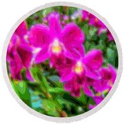 Layer Cut Out Art Flower Orchid Round Beach Towel