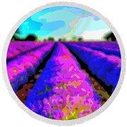 Layer Landscape Art Lavender Field Round Beach Towel