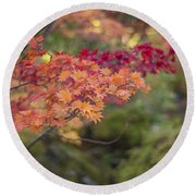 Layers Of Autumn Red Round Beach Towel
