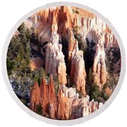 Layers Of Hoodoos And Bluffs Round Beach Towel