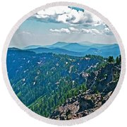 Layers Of Mountains From Watchman Overlook In Crater Lake National Park-oregon  Round Beach Towel