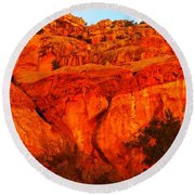 Layers Of Orange Rock Round Beach Towel