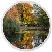 Lazienki Park Autumn Scenery In Warsaw Round Beach Towel