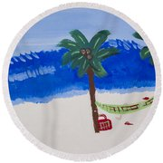 Lazy Beach Round Beach Towel by Melissa Dawn