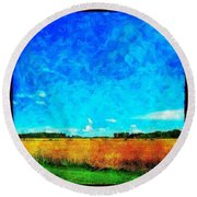 Lazy Clouds In The Summer Sun Round Beach Towel