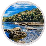 Lazy River Afternoon Round Beach Towel