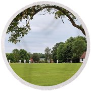 Lazy Sunday Afternoon - Cricket On The Village Green Round Beach Towel