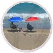 Lazy Sunday Afternoon Round Beach Towel
