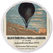 Le Ballon Advertising For French Aeronautical Journal Round Beach Towel