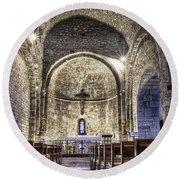 Le Castellet Medieval Church Round Beach Towel
