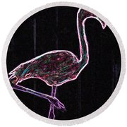 Le Flamant Electrique Round Beach Towel