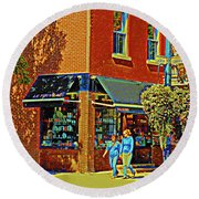 Le Fouvrac Foods Chocolates And Coffee Shop Corner Garnier And Laurier Montreal Street Scene Round Beach Towel
