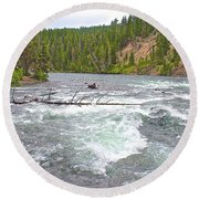 Le Hardy Rapids In Yellowstone River In Yellowstone National Park-wyoming   Round Beach Towel
