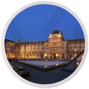 Le Louvre Palace Buildings And Pyramids Round Beach Towel