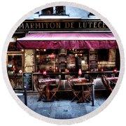 Le Marmiton De Lutece Paris France Round Beach Towel