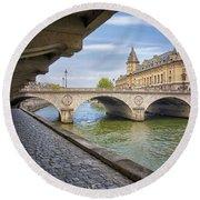 Le Pont Napoleon Paris Round Beach Towel