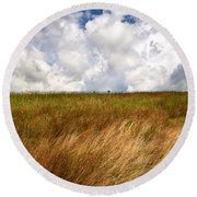 Leaden Clouds Over Field Round Beach Towel
