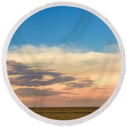 Leading Edge Storm Front And Moon Panorama Round Beach Towel