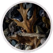 Leaf And Stones Round Beach Towel