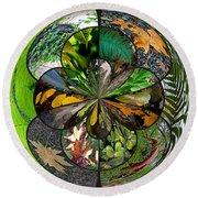 Leaf Collage Orb Round Beach Towel