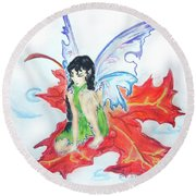 Leaf Fairy Round Beach Towel