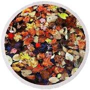 Leaf Patterns 3 Round Beach Towel