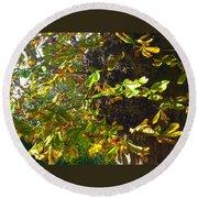 Leafy Tree Bark Image Round Beach Towel