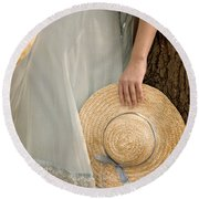 Leaning Beauty Round Beach Towel