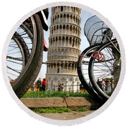 Leaning Bicycles Of Pisa Round Beach Towel