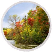 Leaning Into Autumn Round Beach Towel