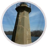 Leaning Lighthouse Round Beach Towel