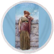 Leaning On The Balcony Round Beach Towel