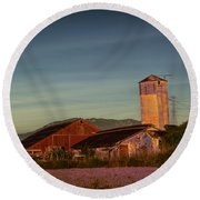Leaning Silo  Round Beach Towel by Bill Gallagher