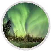 Leaning Spruce  Round Beach Towel