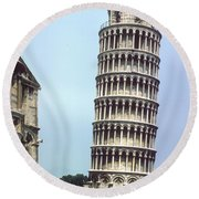 Leaning Tower Round Beach Towel