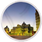 Leaning Tower By Dusk  Round Beach Towel