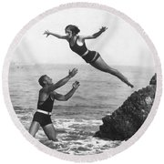 Leap Into Life Guard's Arms Round Beach Towel