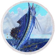 Leap Of Freedom Off0048 Round Beach Towel