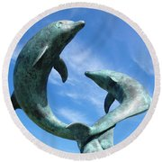 Leaping Dolphins In The Isles Of Scilly Round Beach Towel