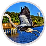 Leaping Egret Round Beach Towel