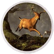 Leaping Stag Round Beach Towel