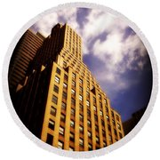 Leaps Tall Buildings With A Single Bound - Skyscraper Round Beach Towel