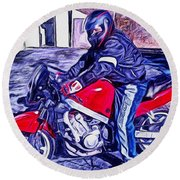Learn How To Ride Round Beach Towel