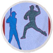 Leather Texture Art Bowler And Pitcher Base Ball Game Sports Competition Round Beach Towel