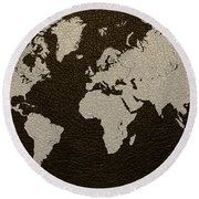 Leather Texture Map Of The World Round Beach Towel
