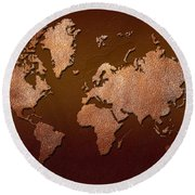 Leather World Map Round Beach Towel by Zaira Dzhaubaeva