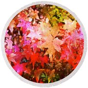 Leaves 11 Round Beach Towel
